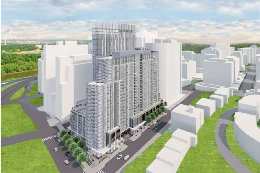 Rendering for redevelopment of the Rosslyn Holiday Inn into a two-tower, multi-use complex. (Arlington County rendering)