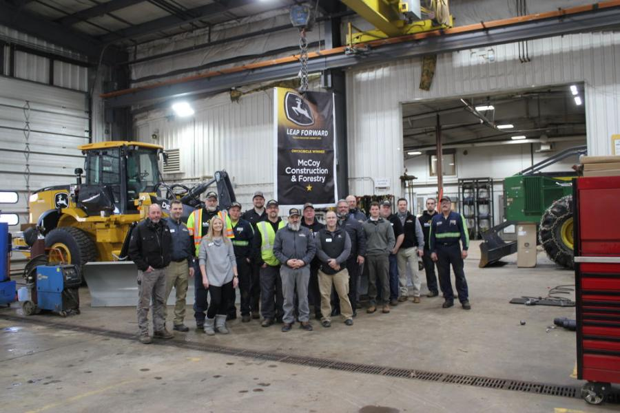 McCoy Construction & Forestry's Duluth, Minn., team celebrated the company's John Deere Construction & Forestry Onyx Circle award on Dec. 15. MCF was Deere's top-performing dealer of 2020.