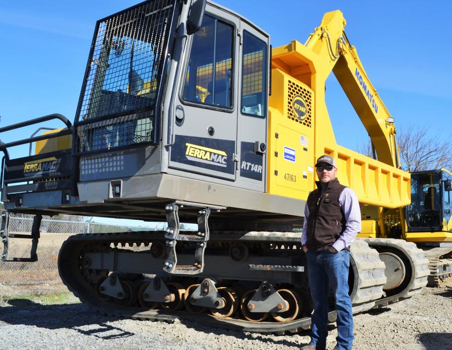 Terramac's Jesse Whittaker was ready and waiting to demonstrate what this RT14R rubber track carrier could do.