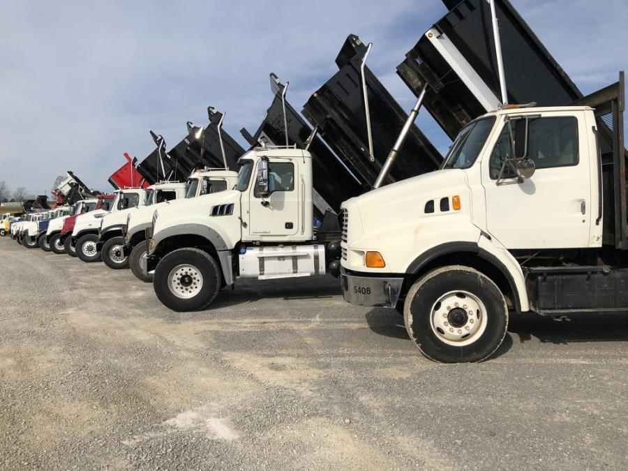 Many dump trucks and other varieties of trucks were sold.