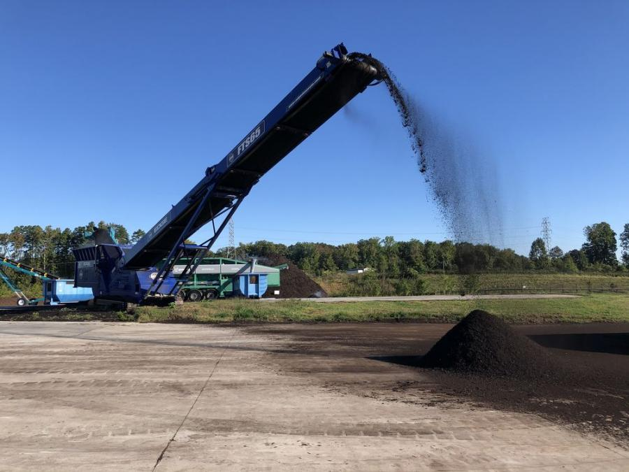 The county relies on a pair of EDGE FTS65 Mulch Master machines to help produce its composting product.