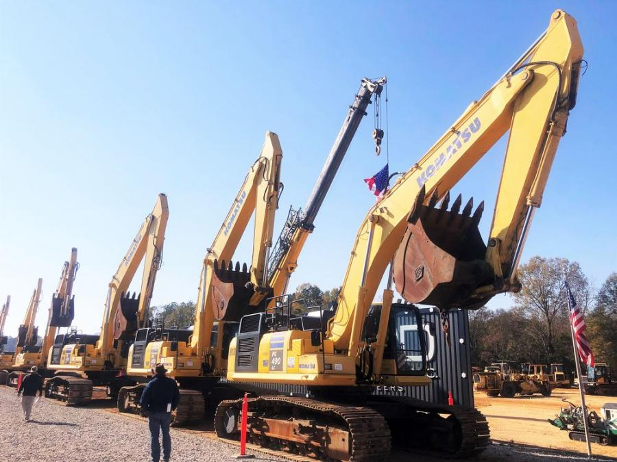 A high volume of excavators is the norm for onsite and online bidders at most JM Wood sales in Montgomery.