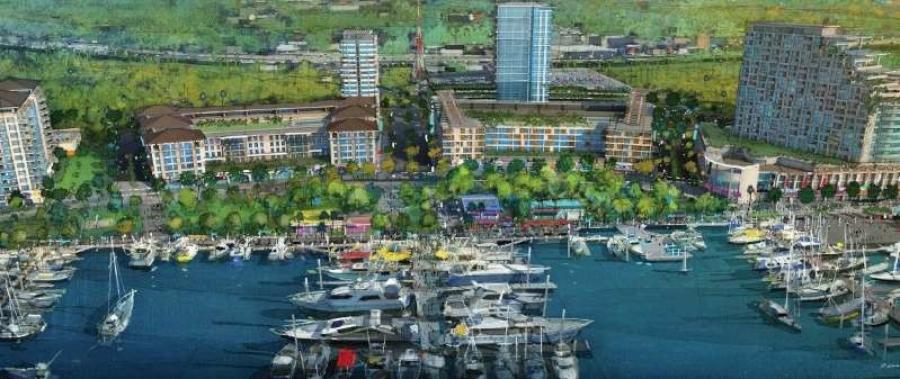 A 2015 rendering by the developer shows how The District on the Southbank would have a marina along with residential and office buildings on 32 acres of land that is vacant now. (Elements Development of Jacksonville rendering)