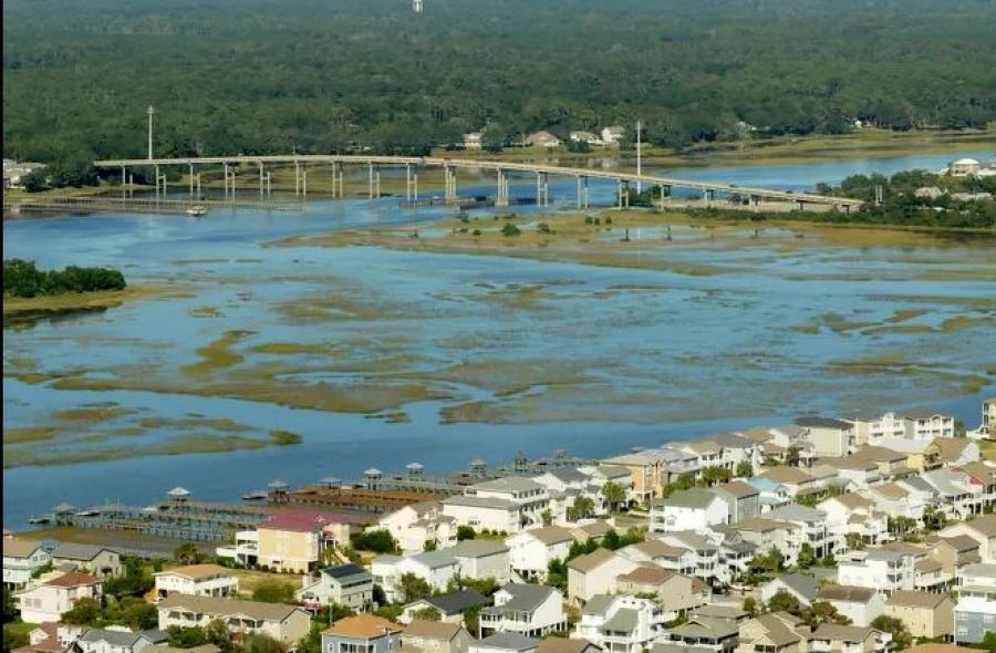 Aerial photo of the Ocean Isle Beach Bridge Oct 7, 2015. The NCDOT announced Dec. 22, 2020, that contractor Freyssinet Inc. of Sterling, Va., was awarded the contract to help preserve the Ocean Isle Beach Bridge on Causeway Drive over the Intracoastal Waterway with a bid for $2.8 million. (KEN BLEVINS/STARNEWS photo)