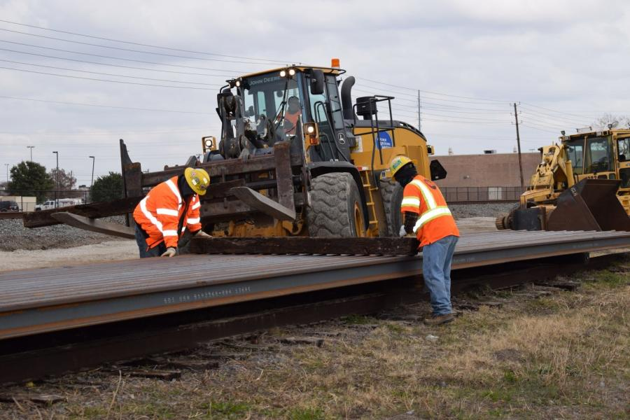 A total of 200 80-ft.-long rail sections were delivered by special train from Indiana-based Steel Dynamics Inc.