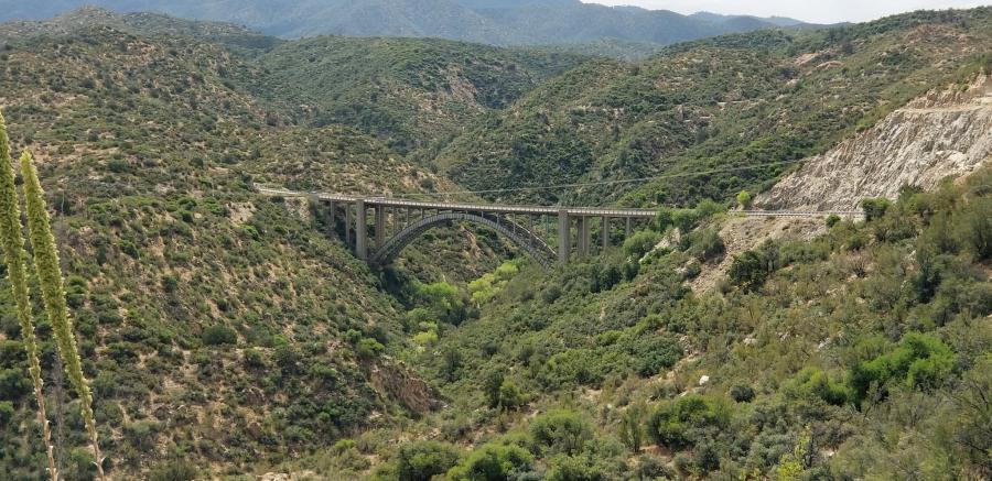 The Pinto Creek Bridge is located on U.S. 60 about 6 mi. west of Miami, Ariz.