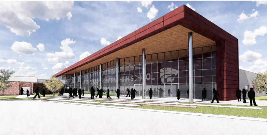 A conceptual rendering of the exterior of Central High School. (Grace Hebert Curtis Architects rendering)