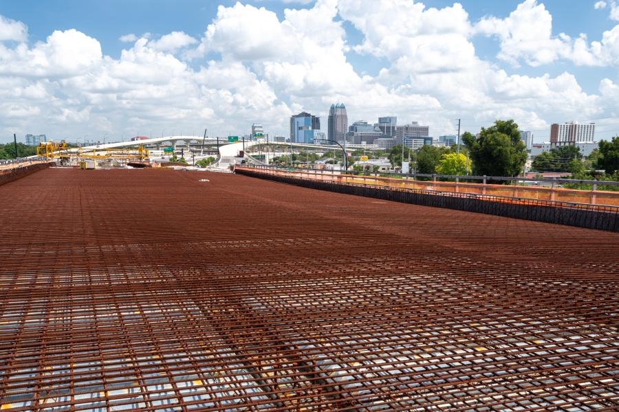 As part of the project, a grid of rebar was ready to be overlaid with concrete on this section of I-4, looking toward downtown Orland. (FDOT photo)