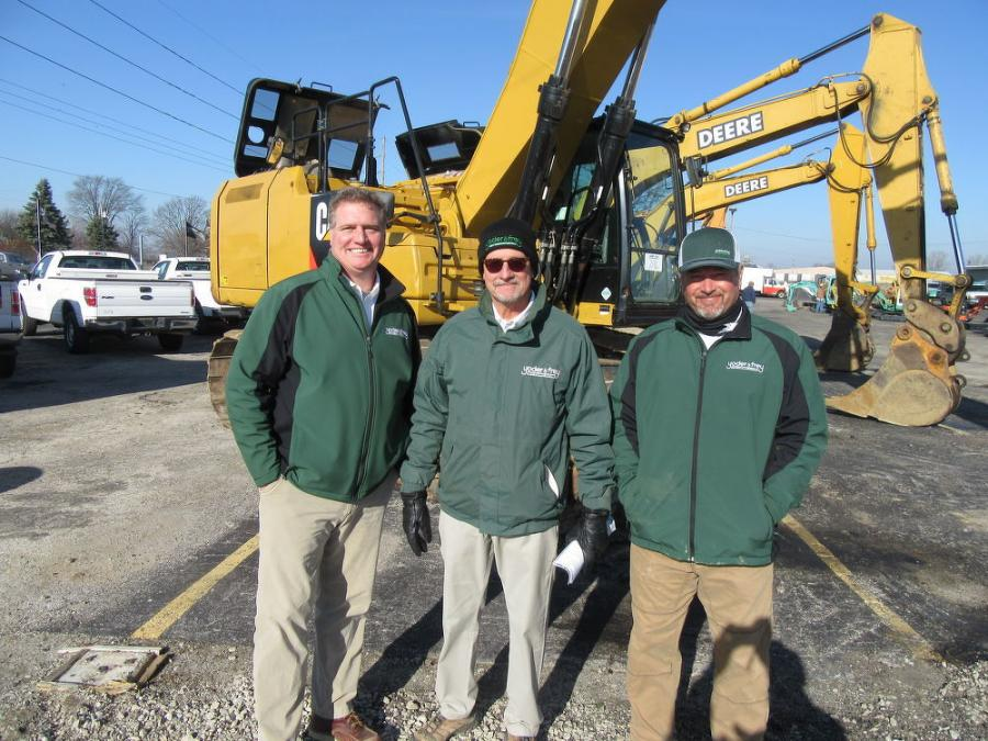 (L-R): Yoder & Frey's Jayson Hutchinson, Trent Shaftner and Josh Schott were on hand at the sale in North Baltimore, Ohio, to ensure that everything ran smoothly.