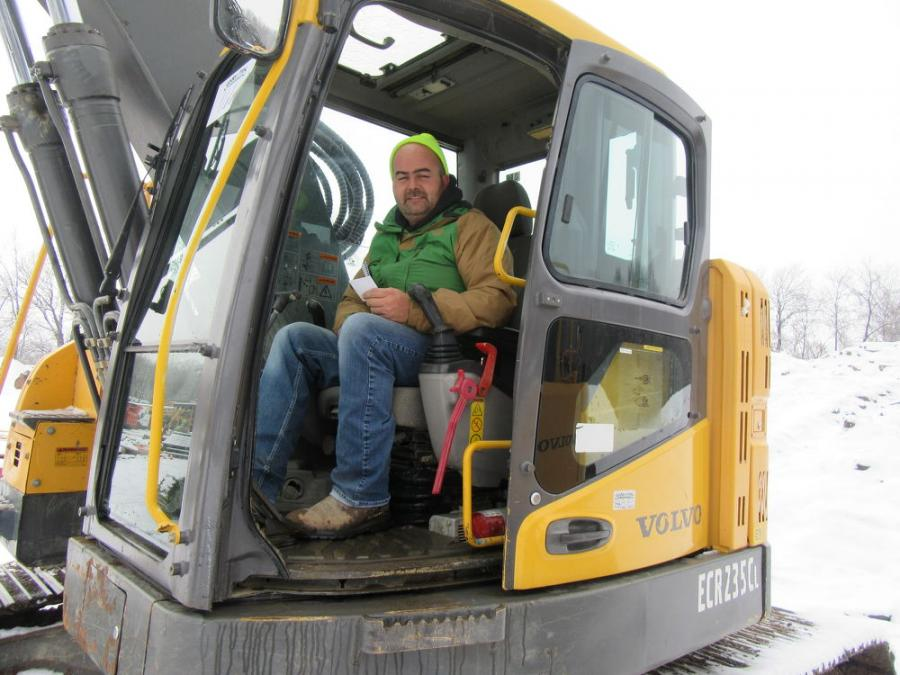 Accurate Management's Jim Jackson tried out this Volvo ECR235CL excavator at Yoder & Frey's Norwalk auction.