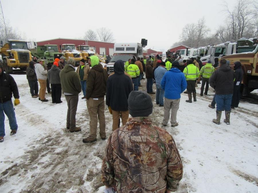 Despite the snow, bidders were on site ready to buy during Yoder & Frey's December sales.
