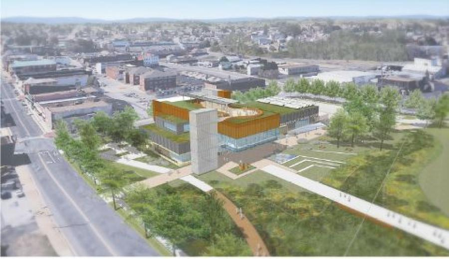 An aerial view of the proposed new museum. (Virginia Museum of Natural History rendering)