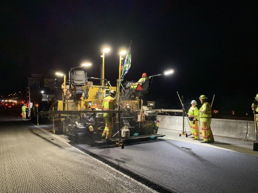 The project required night paving because of the heavy traffic, which included trucks bearing cargo from the Port of Seattle and passenger traffic arriving from ferries.