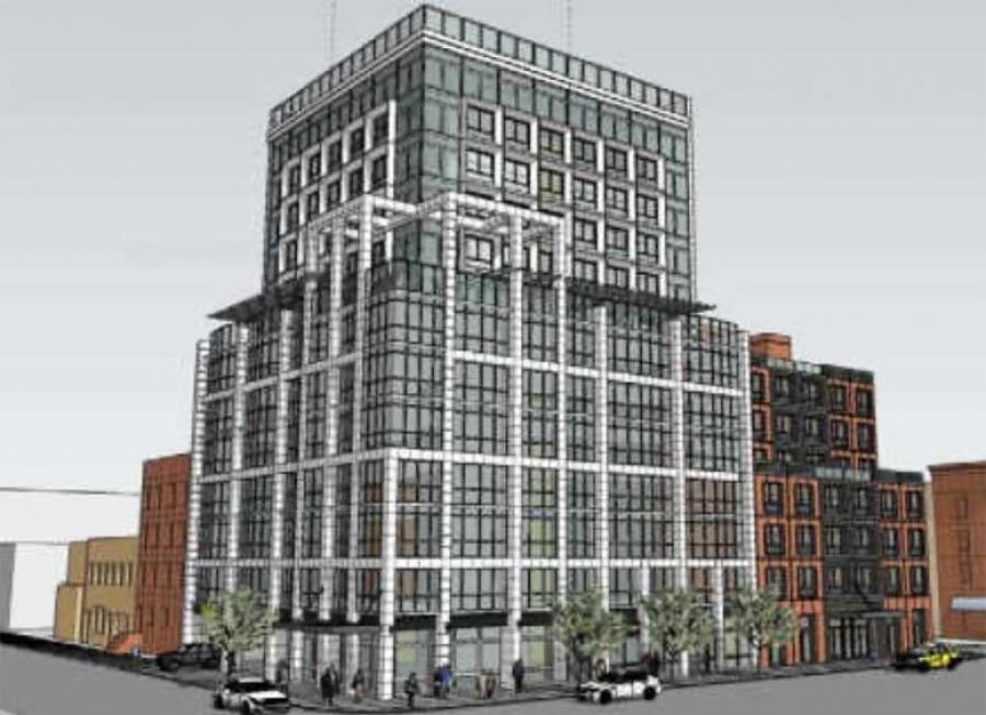 Preliminary rendering of mixed-use development. (2461 Hughes Associates rendering)