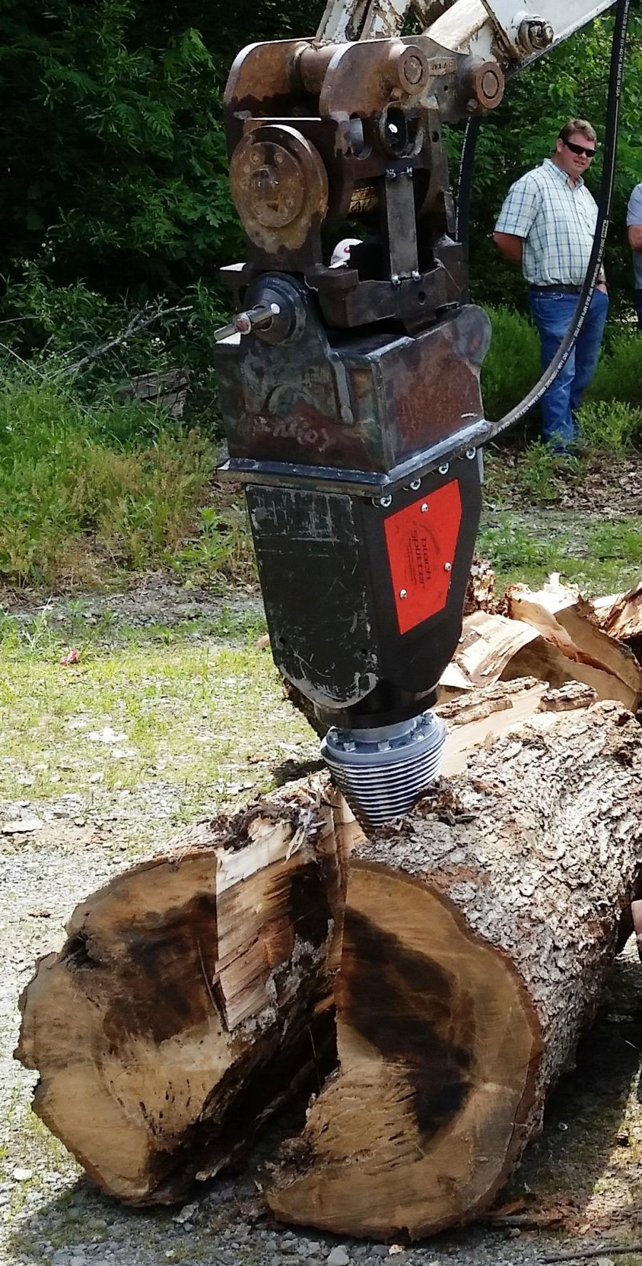 The Black Splitter S2 800 cone splitter Out on the Limb Tree Service acquired from Ransome Attachments in 2018 has brought a new level of versatility to its tree service operation.