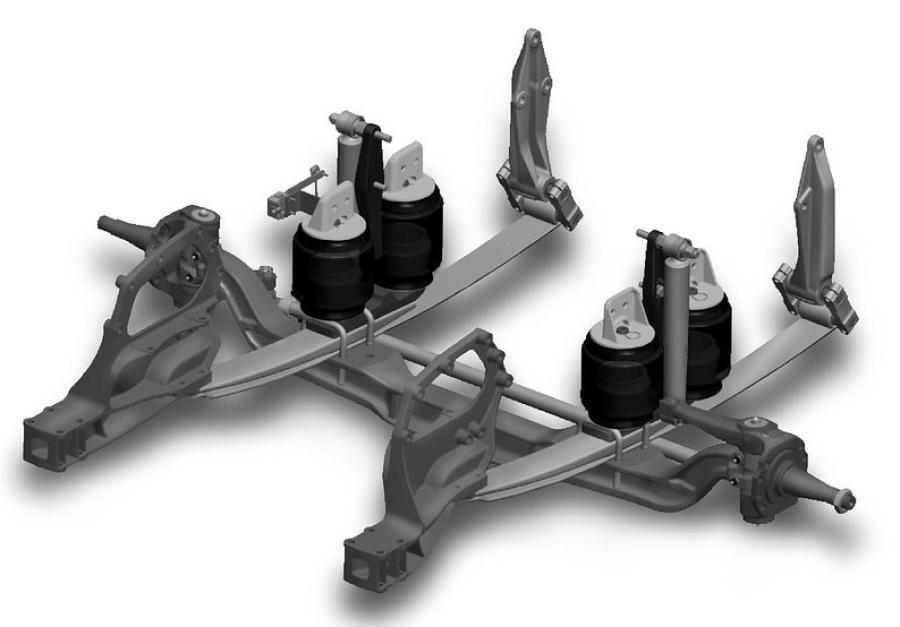 The Kenworth AG130 front air suspension utilizes an innovative design and high-performance components, according to the manufacturer.