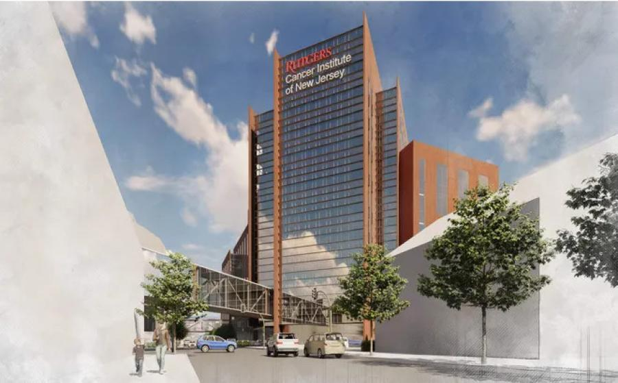 A rendering of the proposed $750 million Rutgers Cancer Institute of New Jersey Cancer Pavillion, which would be built on the site of Lincoln Annex School. (DEVCO rendering)