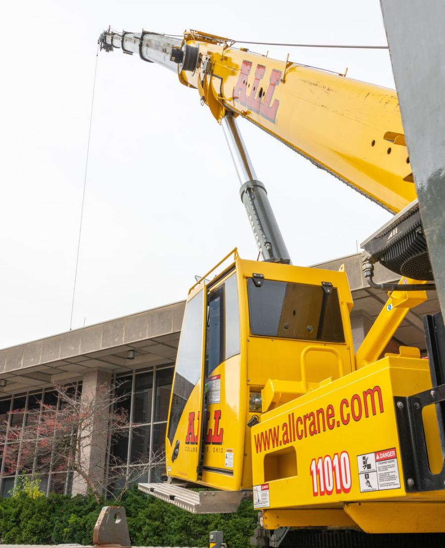 Cranes ranged in capacity from a 110-ton hydraulic truck crane to a 220-ton all terrain crane, performing work ranging from elevator repairs to removing air handling units from a dormitory roof.