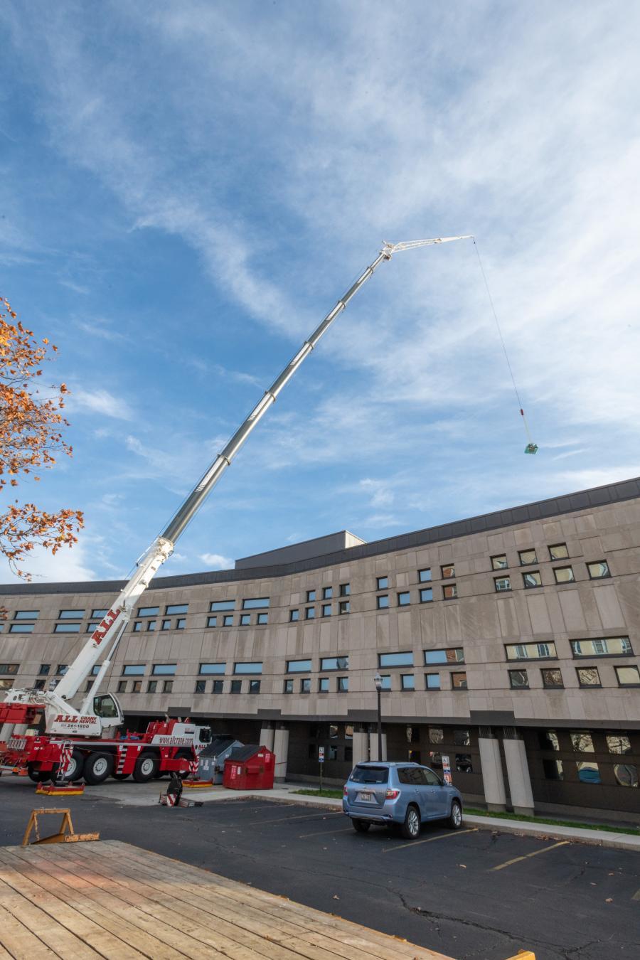 Grove and Liebherr cranes were hard at work on the OSU campus.