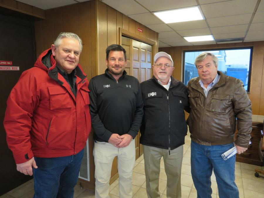 (L-R): Kurt Kaeppel, owner of Konnect Kompany; Chad Ketelsen, president of U.S. operations, Alex Lyon & Son; Jack Lyon, president and CEO of Alex Lyon & Son; and Tom Hribar, president of Hribar Corporation, are ready for the auction in Racine, Wis.