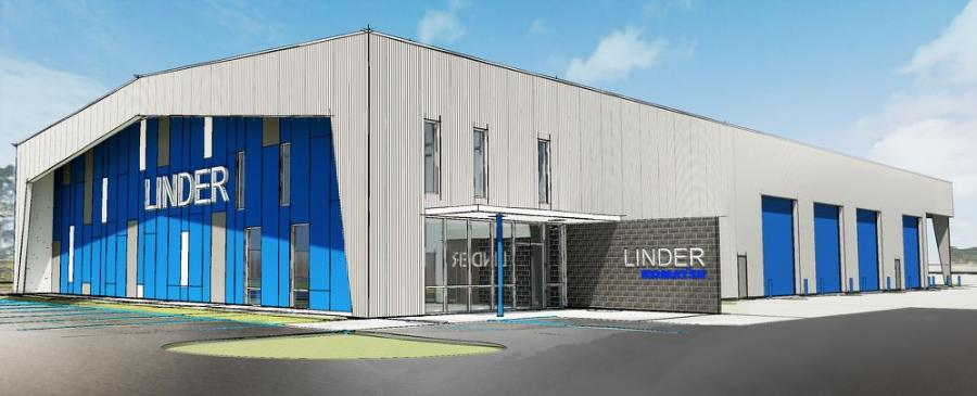A rendering of the new Linder Industrial Machinery, Ft. Myers, Fla., location was unveiled at the event.