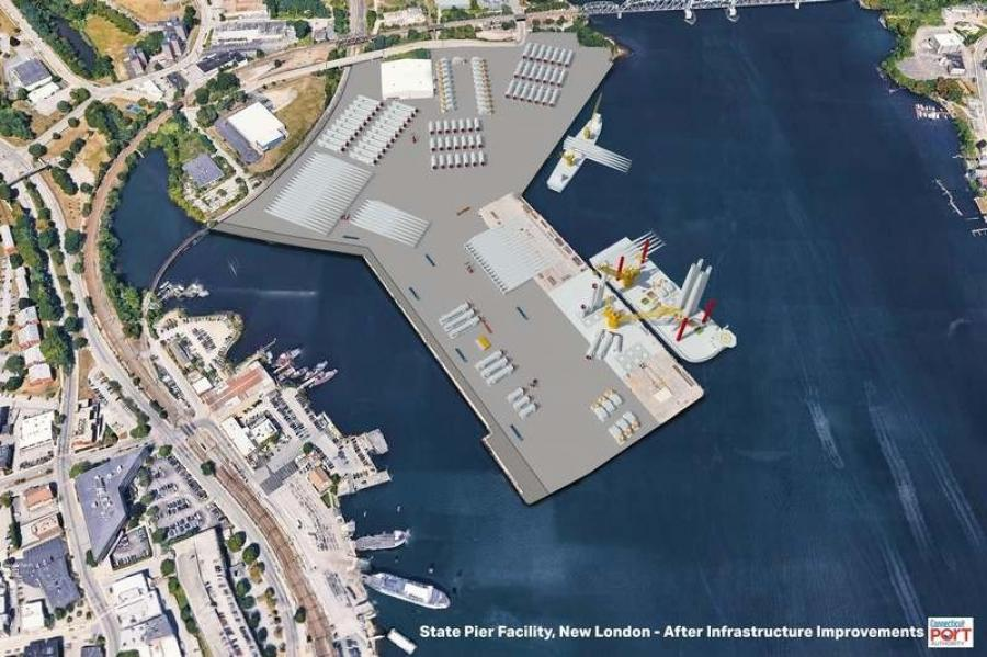 A rendering of the redeveloped State Pier envisioned in a plan approved Feb. 11, 2020, by the Connecticut Port Authority board of directors. The space between State Pier and the Central Vermont Pier would be filled in. (Connecticut Port Authority rendering)