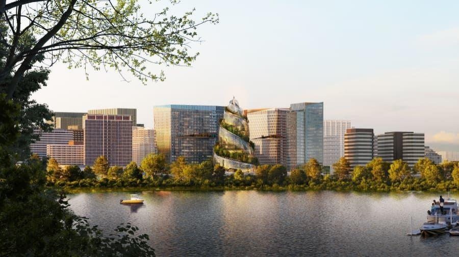Amazon unveiled new renderings of its Arlington, Va., headquarters, which include The Helix, a uniquely designed 350-ft.-tall tower. (NBBJ rendering)