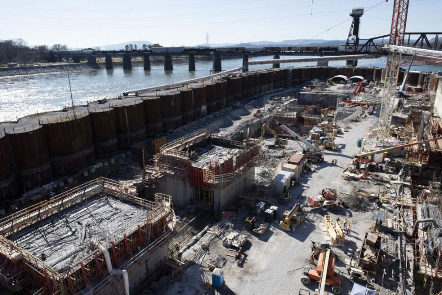 Construction crews work Feb. 3, 2021, at the Chickamauga Lock Replacement Project on the Tennessee River in Chattanooga, Tenn. The U.S. Army Corps of Engineers Nashville District is building a larger replacement lock at the Tennessee Valley Authority project. (Lee Roberts/USACE photo)