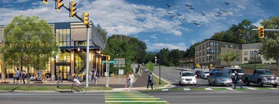 A conceptual rendering shows what the intersection of Williamson and Plantation roads in Hollins might look like. Roanoke County is in the early stages of implementing redevelopment plans for the area. (Roanoke County rendering)