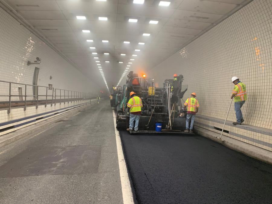 The first lane of the night paving project in the Monitor-Merrimac Memorial Bridge-Tunnel is completed.
