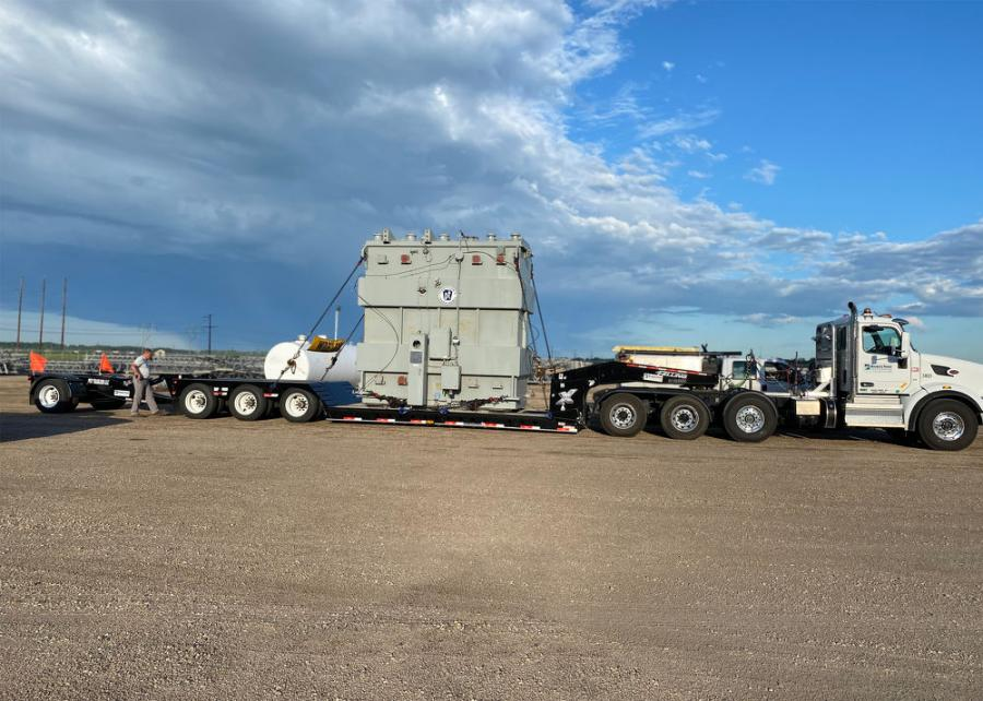 Minnkota Power Cooperative's XF-110-3 HDG on its first trip down the road carrying a Pennsylvania Transformer weighing 93,000 lbs.