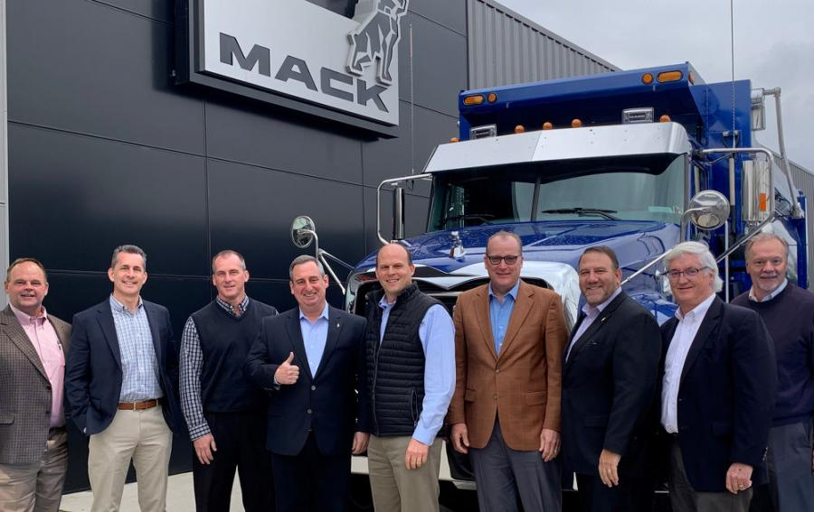 Bergey's Truck Centers of Pennsauken, N.J., is the Mack Trucks 2020 North American Dealer of the Year. Mack named Bergey's the winner virtually during the Mack annual dealer meeting. (L-R) in a 2019 photo are Bill Schenck, director of heavy-duty truck sales; Stephen Rybacki, director of medium-duty truck sales; Dave Schlosser, vice president of commercial operations; Martin Weissburg, president of Mack Trucks; Mark Bergey, CEO of Bergey's Truck Centers; James Gavaghan, president; Jonathan Randall, Mack Trucks senior vice president of North American sales and commercial operations; Pat Meehan, sales manager; and Richard Ciesielka, vice president of lease/rental and remarketing.