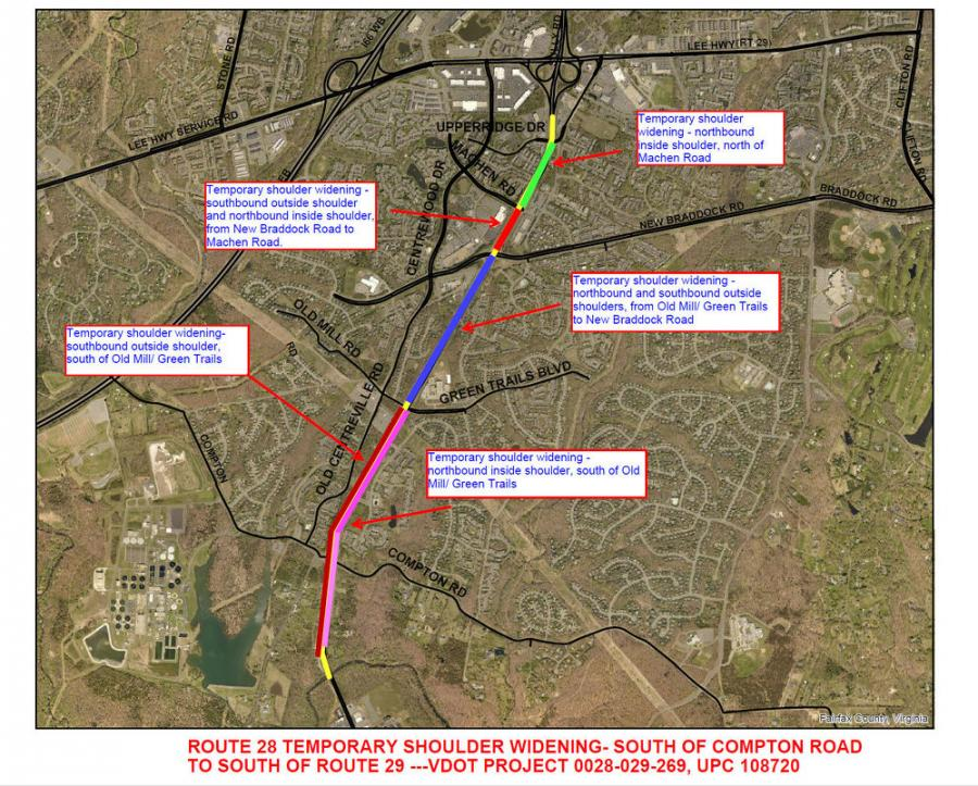 Route 28 temporary shoulder widening, south of Compton Road to south of Route 29. (Fairfax County Department of Transportation map)