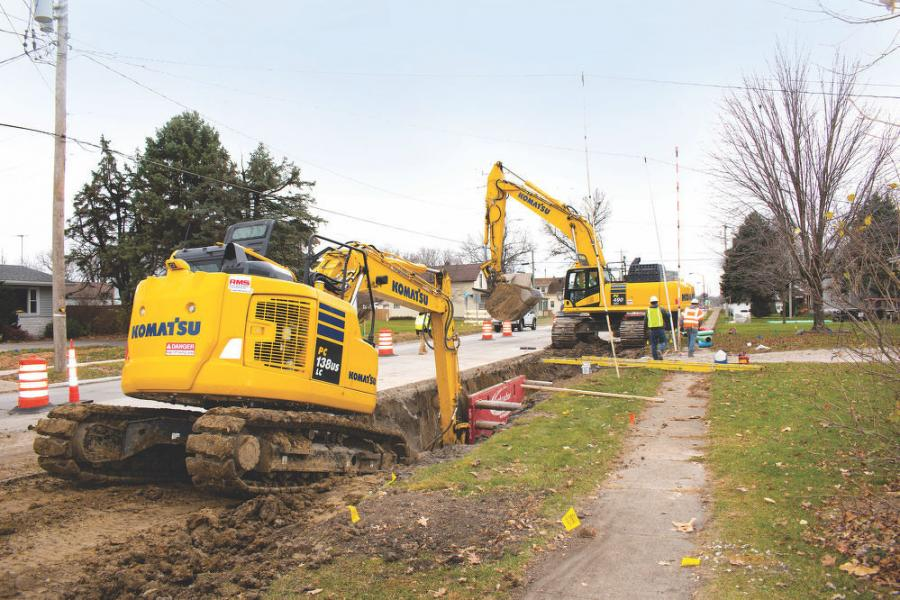 Komatsu excavators help Synergy Contracting to complete an array of jobs throughout central Iowa. At an emergency sewer project in Osceola, the company installed a 12-in. main line and 6-in. service lines underneath a highway by using a combination of traditional excavation and directional boring.