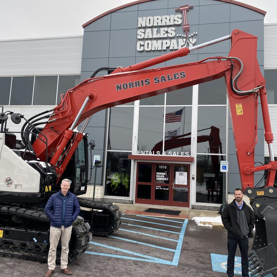 Bill Cummings (L) and Aaron Brown stand in front of a newly delivered Link-Belt 245 X4 Spin Ace excavator in front of Norris Sales Company's Conshohocken, Pa., location.