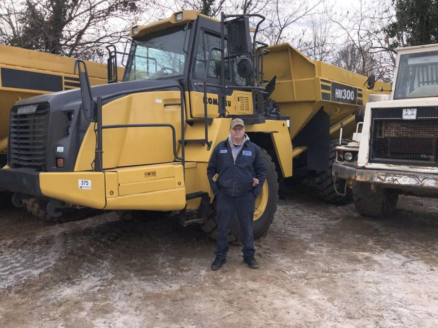 Robert Brown, of Robert Brown Grading & Landscape in Spartanburg, S.C., looked over this Komatsu HM300 artic truck. If the winning bidder, he planned to put it to work right away.