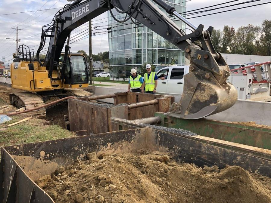 The new pipe installation parallels the old water main, with work going on between the two sets of lanes along South Boulevard between Scaleybark Road and Worthington Avenue.