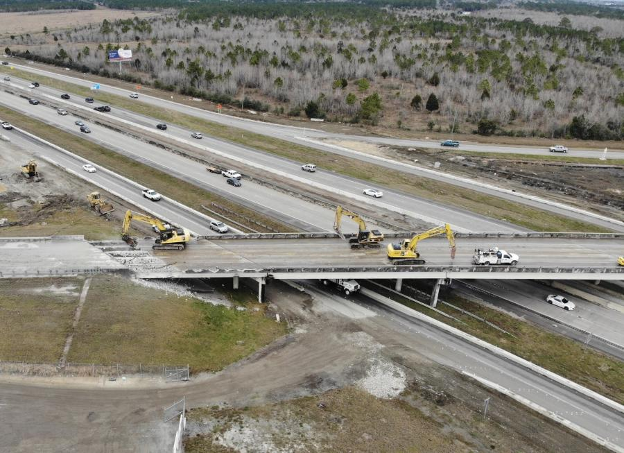 Construction crews demolished the Holland Road bridge over the mainlanes of I-45 during the first week of February.