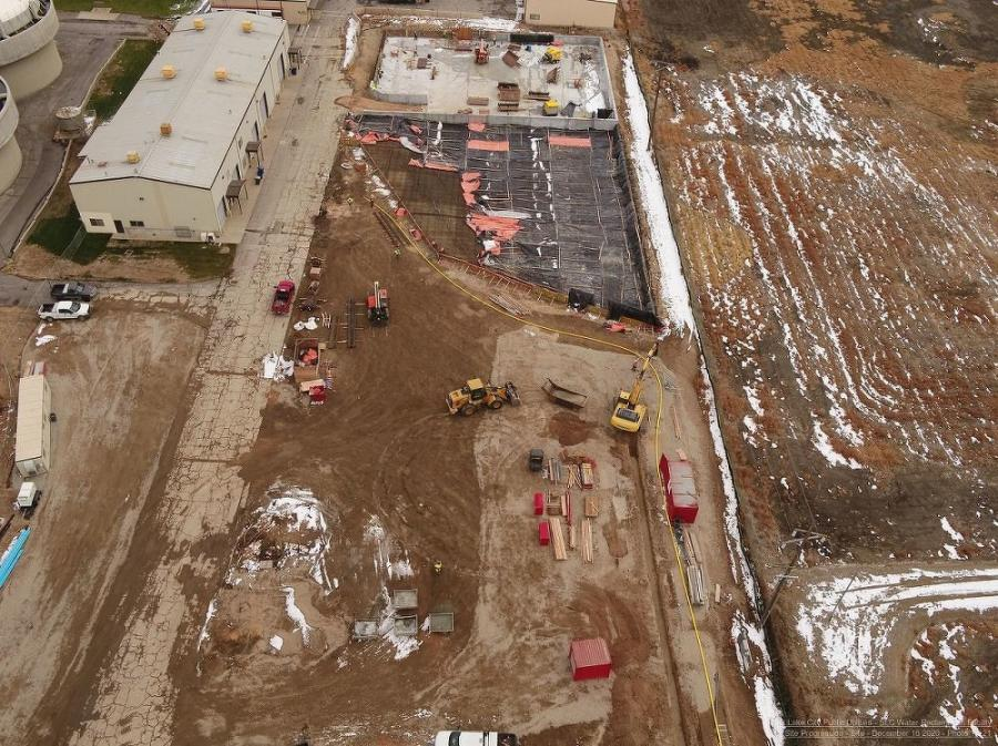 A drone image from December shows the biosolids storage facility under construction, where craft professionals from Sundt and PCL are working side by side. The large containment area will hold biosolids after they're removed during the water treatment process. From here, they will be hauled away and used for industrial/agricultural purposes.