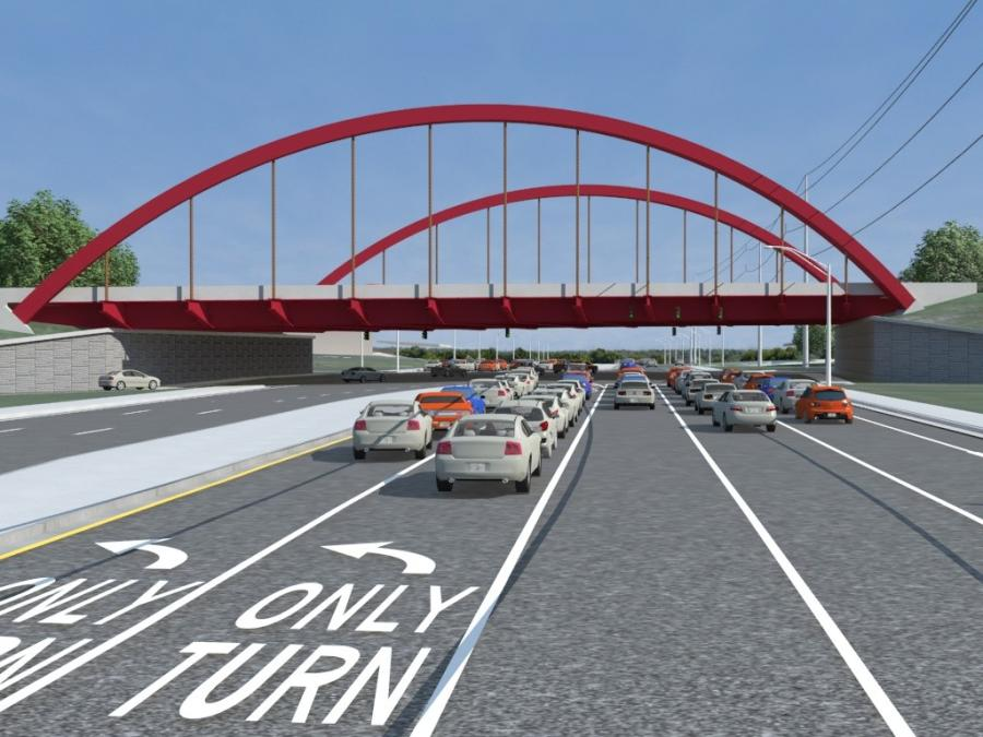 When complete, the project's most striking feature will be the iconic Crimson Arch Bridge, a cable-stay arch span designed to support the interstate across the busy highway along Tuscaloosa's southside. (ALDOT rendering)