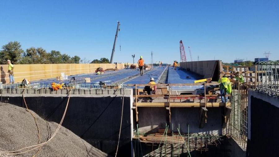 Crews work on the future Exit 29 Bridge.