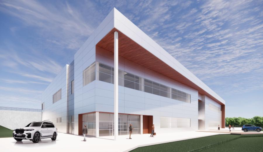 Artist's drawing of the exterior view of the new BMW Training Center. (Little Diversified Architectural Consulting rendering)