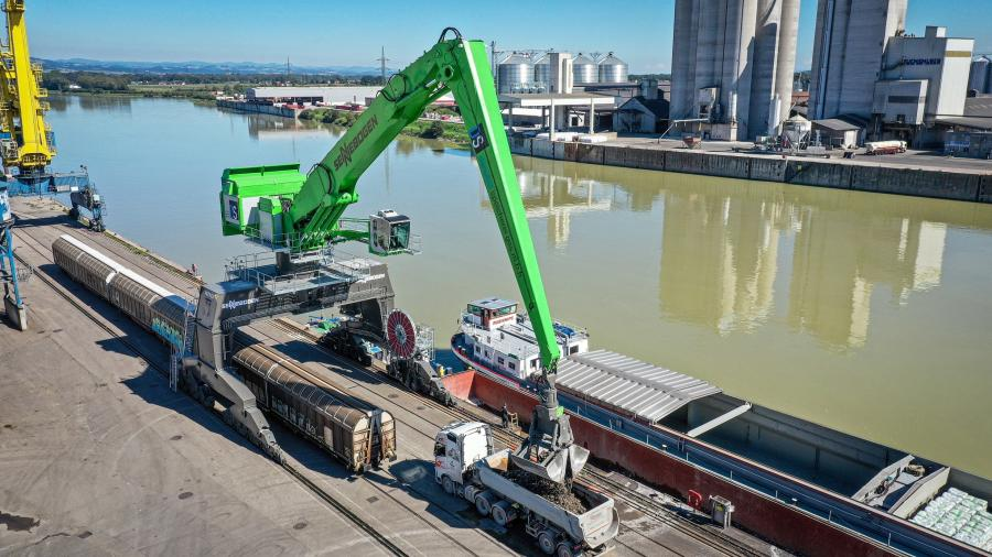 The Sennebogen 895 E Hybrid has an operating weight of approximately 463 tons and a reach of more than 130 ft.