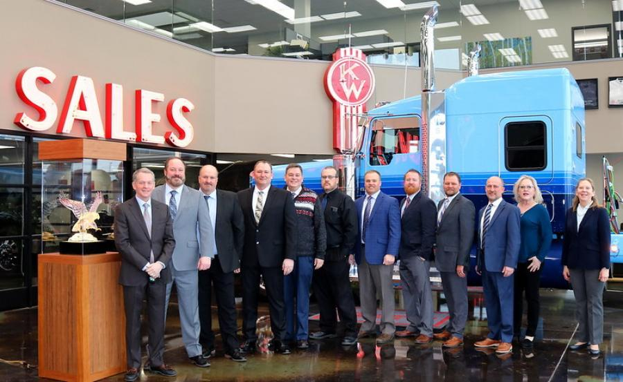 Kenworth Sales Company recently received the 2020 Kenworth Dealer of the Year Award for the United States and Canada. The recipients, shown with the crystal eagle Dealer of the Year award, includes executives Trevor Pasmann, corporate sales director; Kyle Treadway, president and dealer principal; Rick Greene, chief operations officer; and Tucker Morgan, corporate parts director.