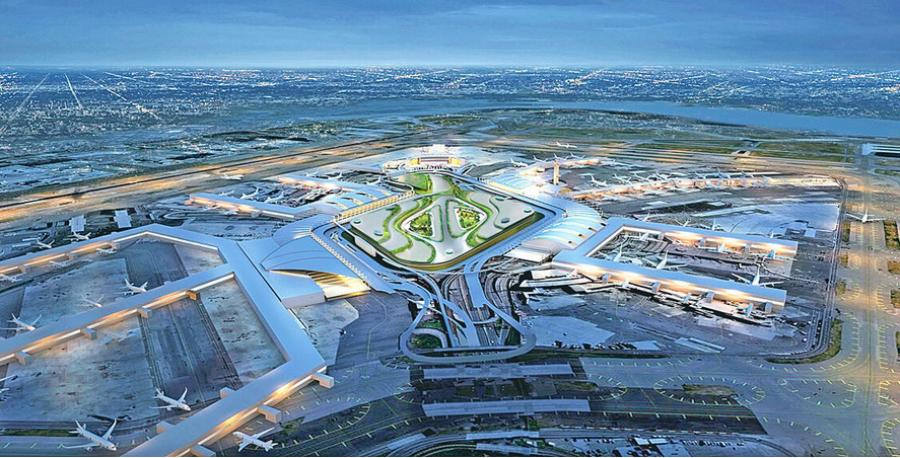 A rendering of the proposed JFK redevelopment plan shows the new terminal construction that is expected to generate billions of private investment in the airport.