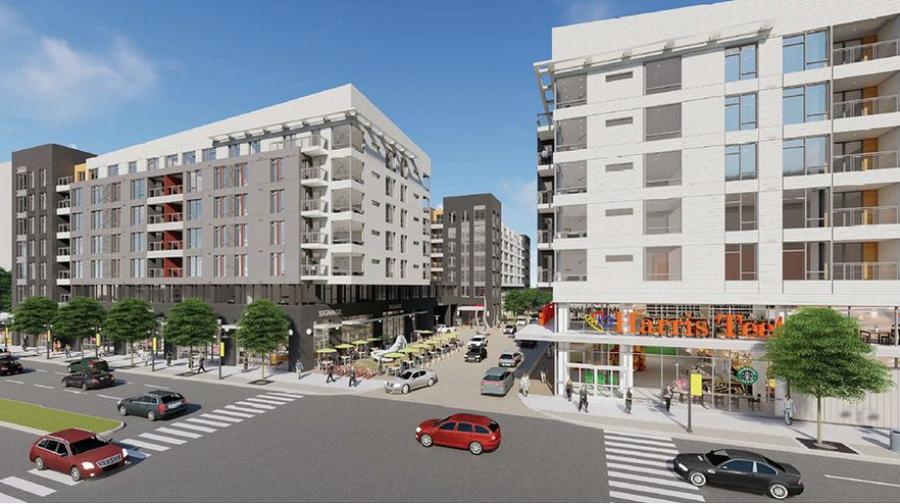A new Harris Teeter grocery store, three apartment buildings (totaling 732 units) and a new green space are planned for the Ballston neighborhood of Arlington, Va.
