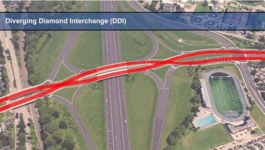 The scope of the road work includes reconfiguring the Glades Road Interchange to a Diverging Diamond Interchange. (Florida Department of Transportation rendering)