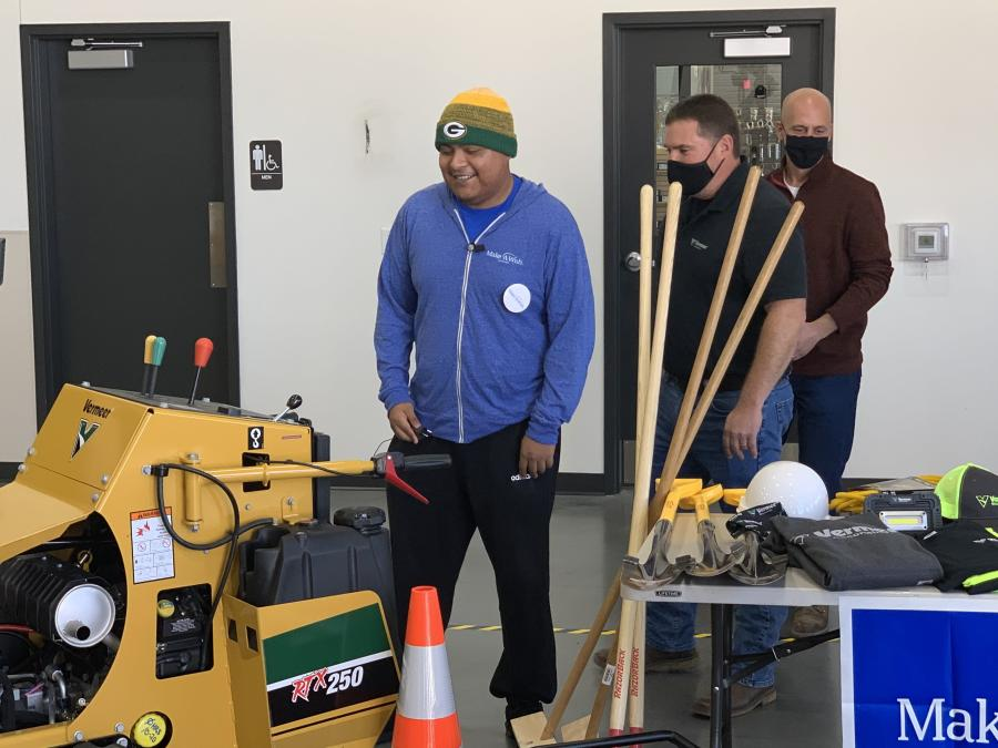Orchestrated by Make-A-Wish Wisconsin, Edgar Contreras received a new Vermeer RTX250 pedestrian trencher, as well as a trailer to haul it with; an extended service package; an update to his truck's towing package; a generator; personal protective equipment (PPE); and a variety of hand tools. Donations were made by Vermeer Wisconsin, Vermeer Corporation and KS Energy Services Inc.