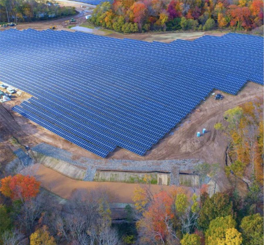 The East Windsor project comes after a large solar array began operating in 2019 in Simsbury. Tobacco Valley Solar (shown) was designed to produce 26 megawatts. (Town of East Windsor photo)