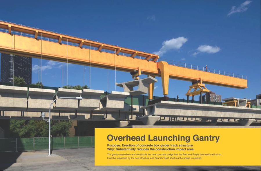 Most of the new track structure in the Lawrence to Bryn Mawr project area will be built with pre-cast concrete segments that are created off-site, trucked in and installed with a gantry system.